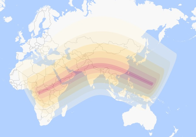Annular eclipse map, 21 June 2020