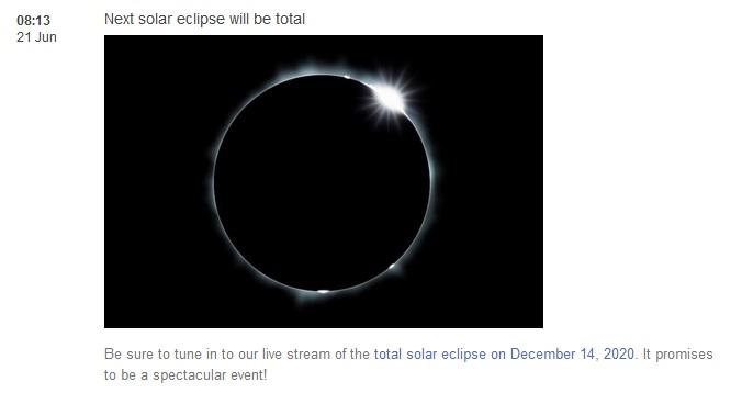 Next solar eclipse: 14 December 2020