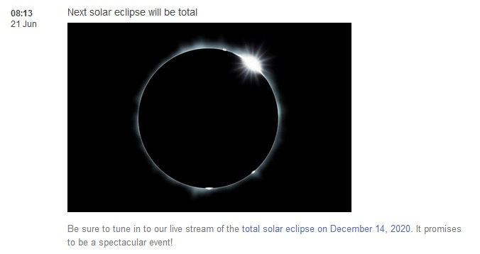 Next solar eclipse: 14 December 2020
