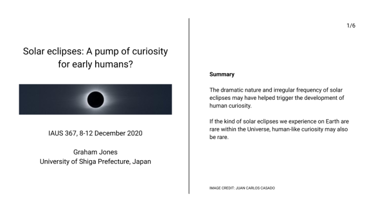 Solar eclipses: A pump of curiosity for early humans? (slide 1)