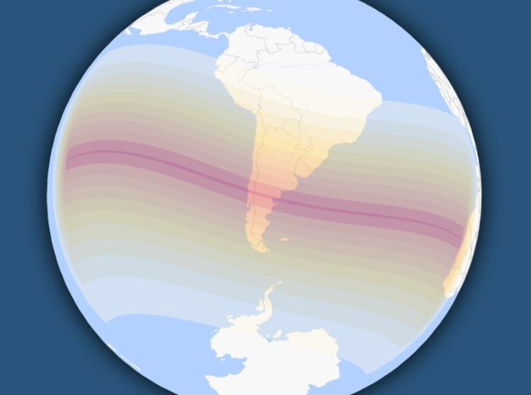 timeanddate.com map of the total solar eclipse on 14 December 2020