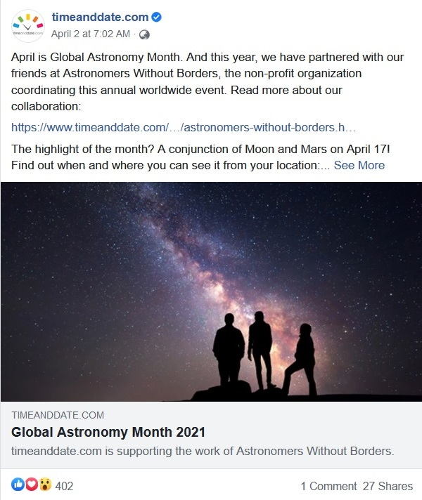 timeanddate.com Facebook post about Global Astronomy Month